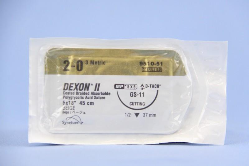Covidien Suture, 9510-51, 2-0, Dexon II beige 5 x 18